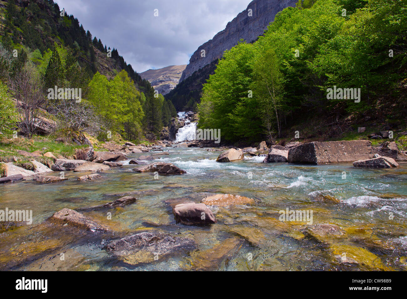 Ordesa Vally; National Park; Spain; waterfall - Stock Image