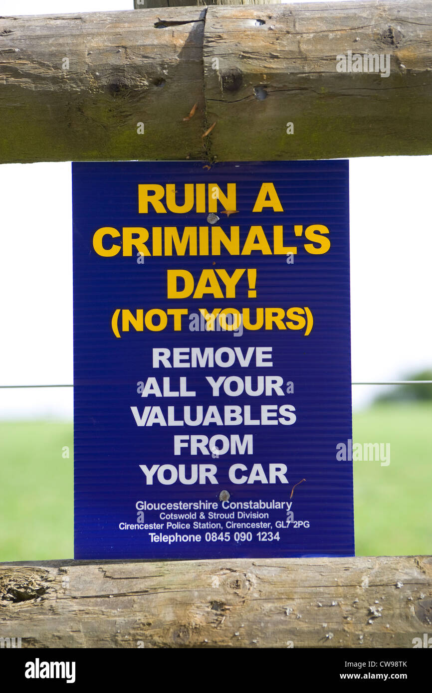 theft warning sign - Stock Image