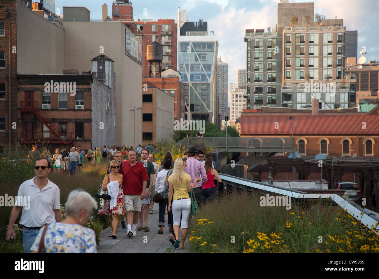 New York, New York - The High Line, an abandoned elevated railroad turned into a linear urban park. - Stock Image
