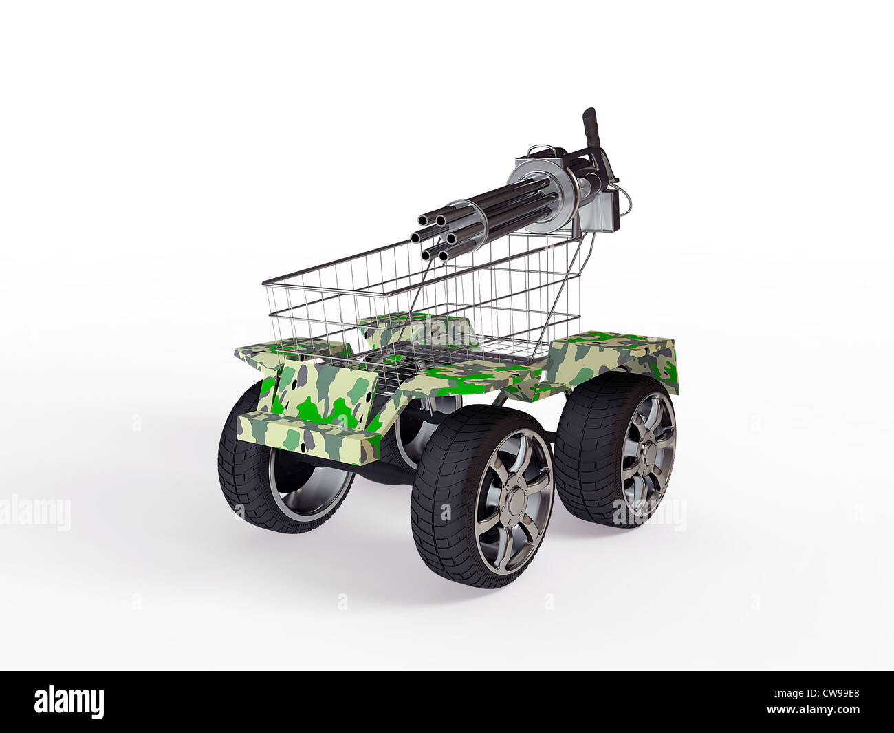 Shopping basket with big wheels on a white background - Stock Image