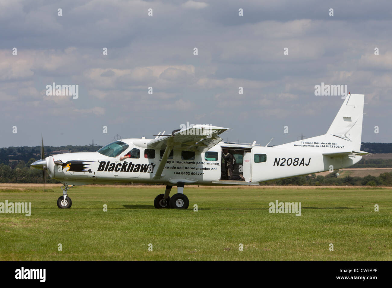 Cessna 208 Grand Caravan, reg N208AJ, at Sibson airfield
