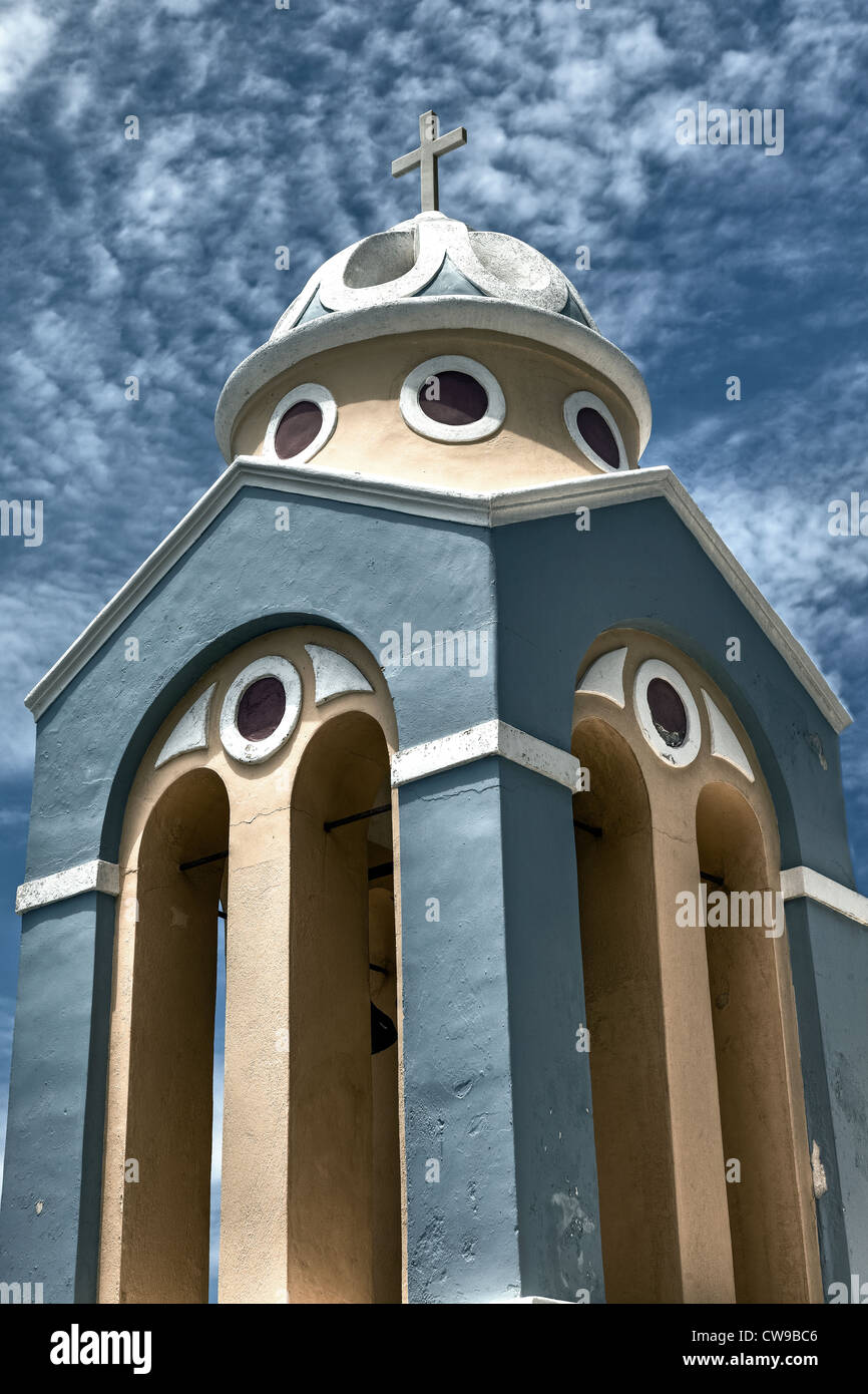 Steeple of a Greek church - Stock Image