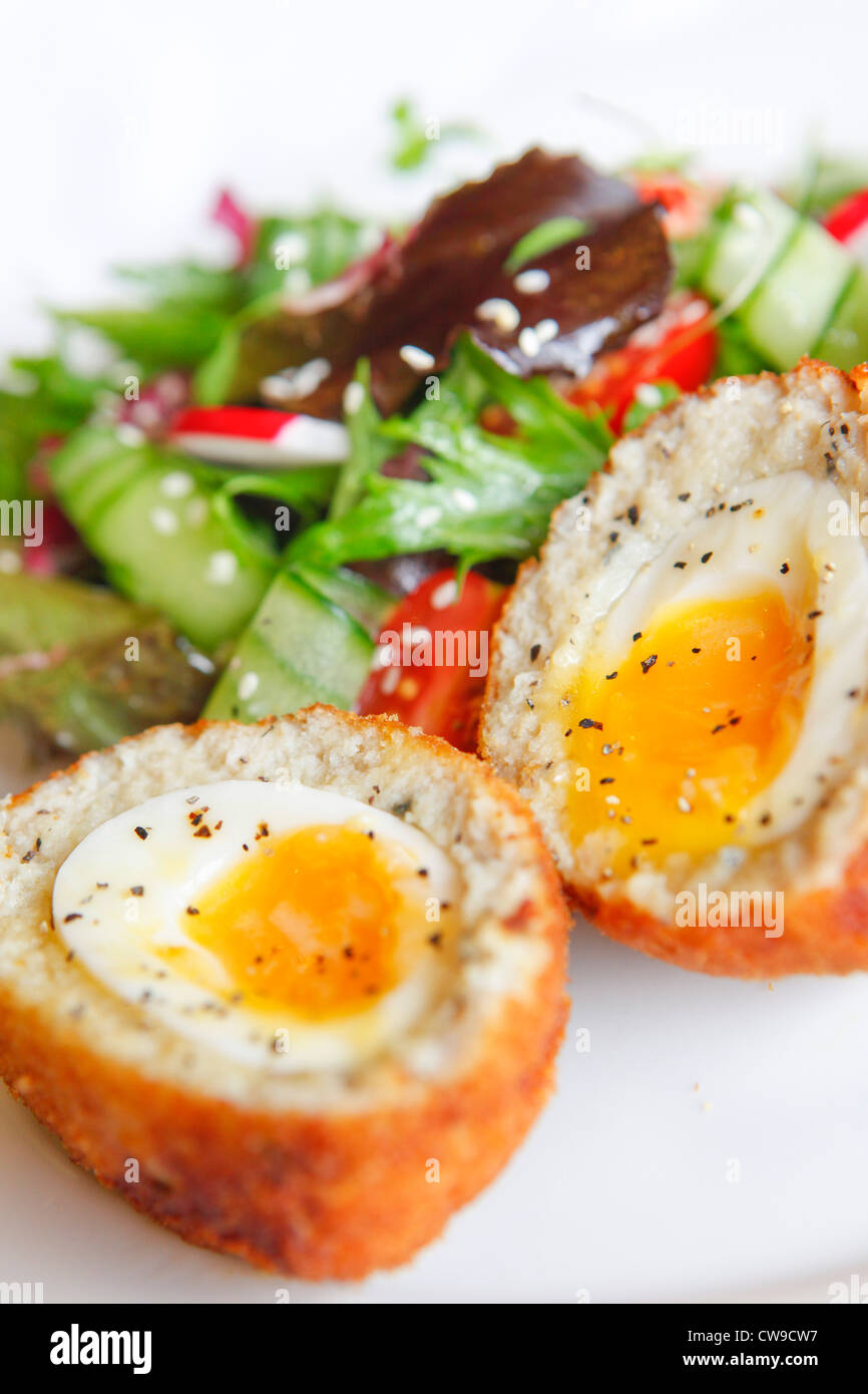 Scotch egg from Chamberlains Fish and Chip Restaurant, Birmingham - Stock Image