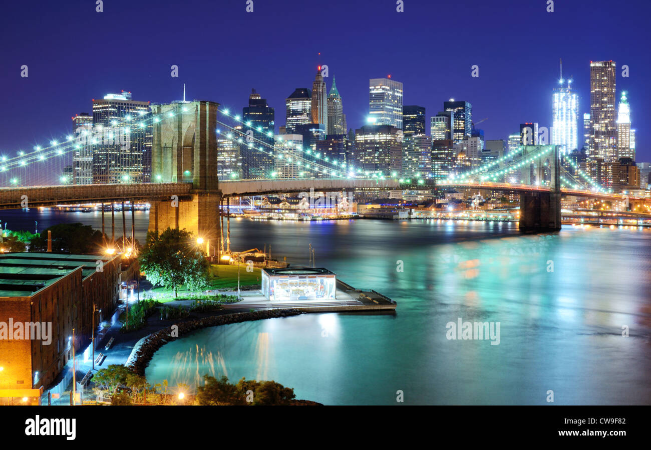 View of Downtown New York City and Brooklyn Bridge - Stock Image