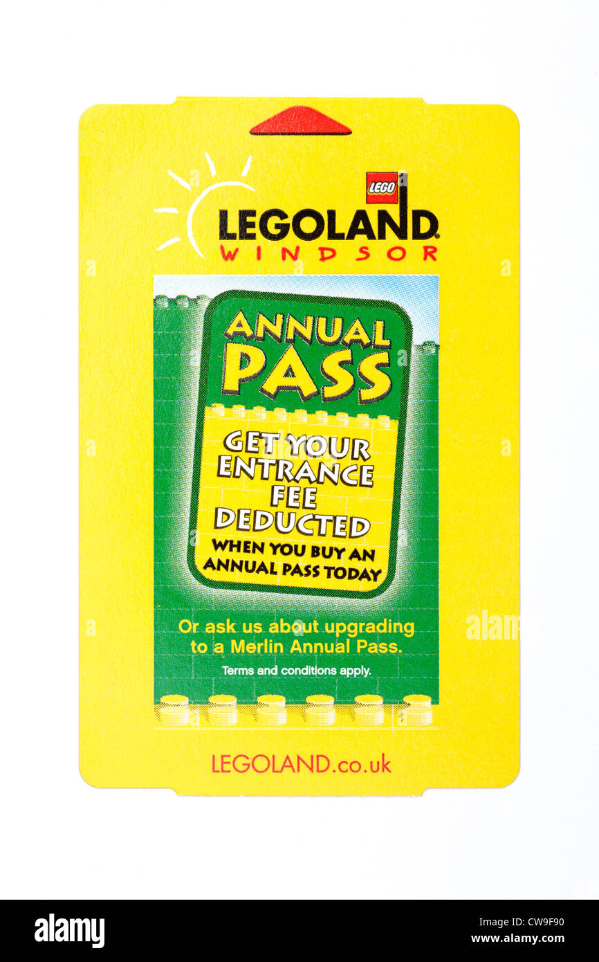 An entrance ticket for Legoland at Windsor in England UK Stock Photo