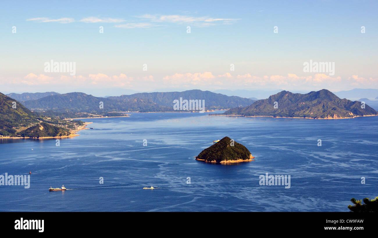 Seto Inland Sea in Japan as seen from Mt. Misen at Miyajima, Japan. - Stock Image