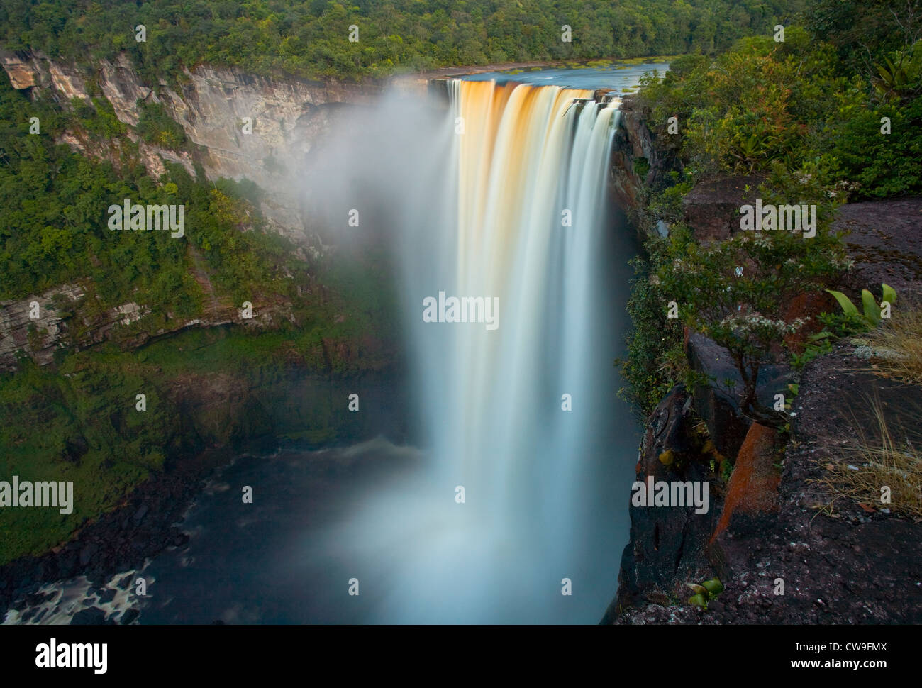KAIETEUR FALLS, the second highest single drop waterfall in South America, Kaieteur National Park, Potaro river, - Stock Image
