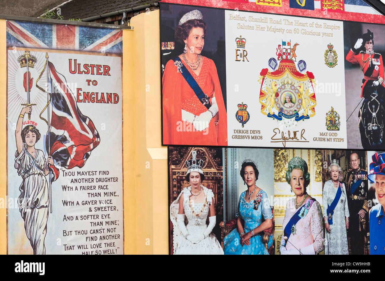 Tributes to Queen Elizabeth II on Shankill road, Belfast in Northern Ireland. - Stock Image