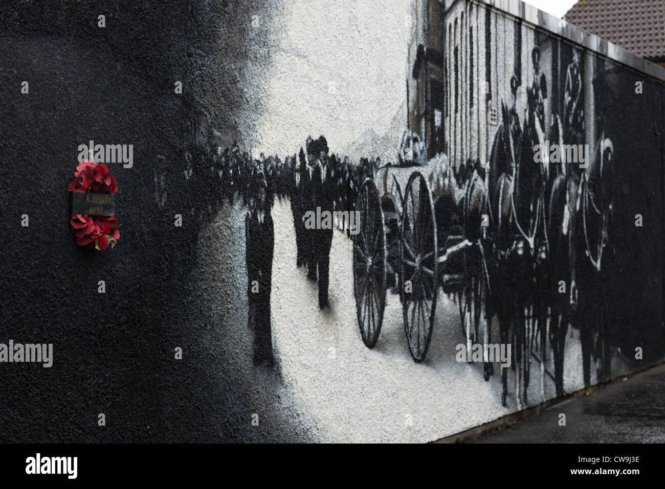 Mural and memorial on Shankill road, Belfast in Northern Ireland. - Stock Image