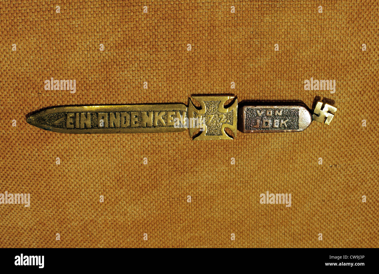 Brass & copper Paper-knife, Swastika and Germanic Cross. Historic antique. - Stock Image