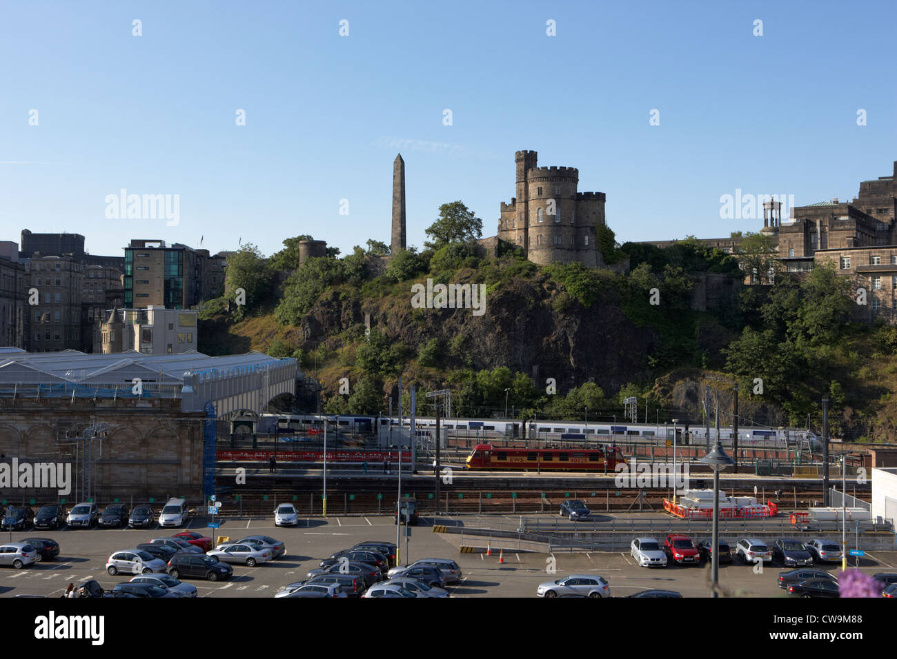 view over waverley station towards calton hill edinburgh scotland uk united kingdom - Stock Image