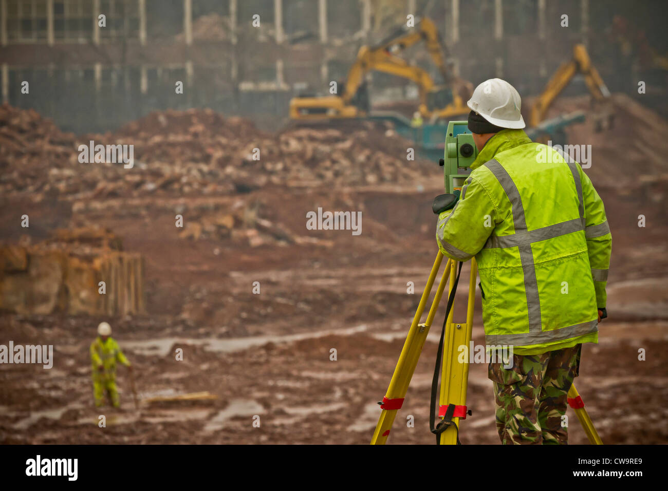 Surveyor on a demolition site, Birmingham, Enlgland - Stock Image