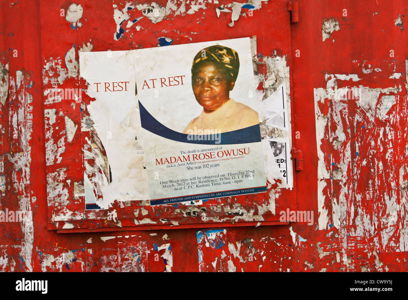Poster announcing death of woman, Ghana - Stock Image