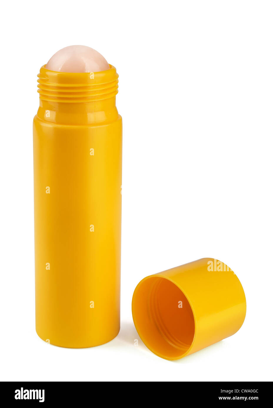 Yellow roll-on deodorant isolated on white - Stock Image