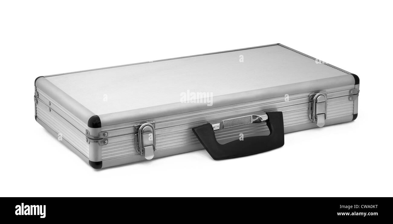 Aluminum briefcase with black handle isolated on white - Stock Image