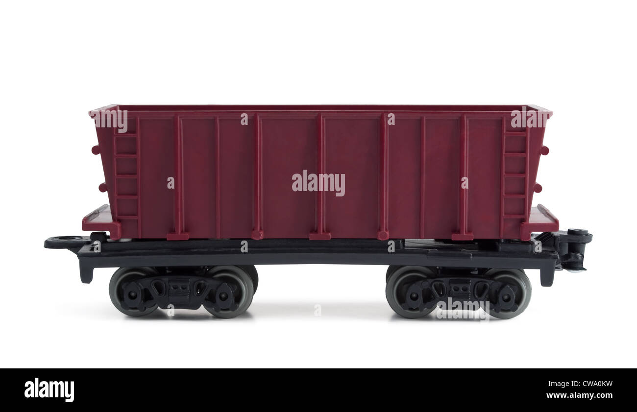 Toy plastic open freight car isolated on white - Stock Image