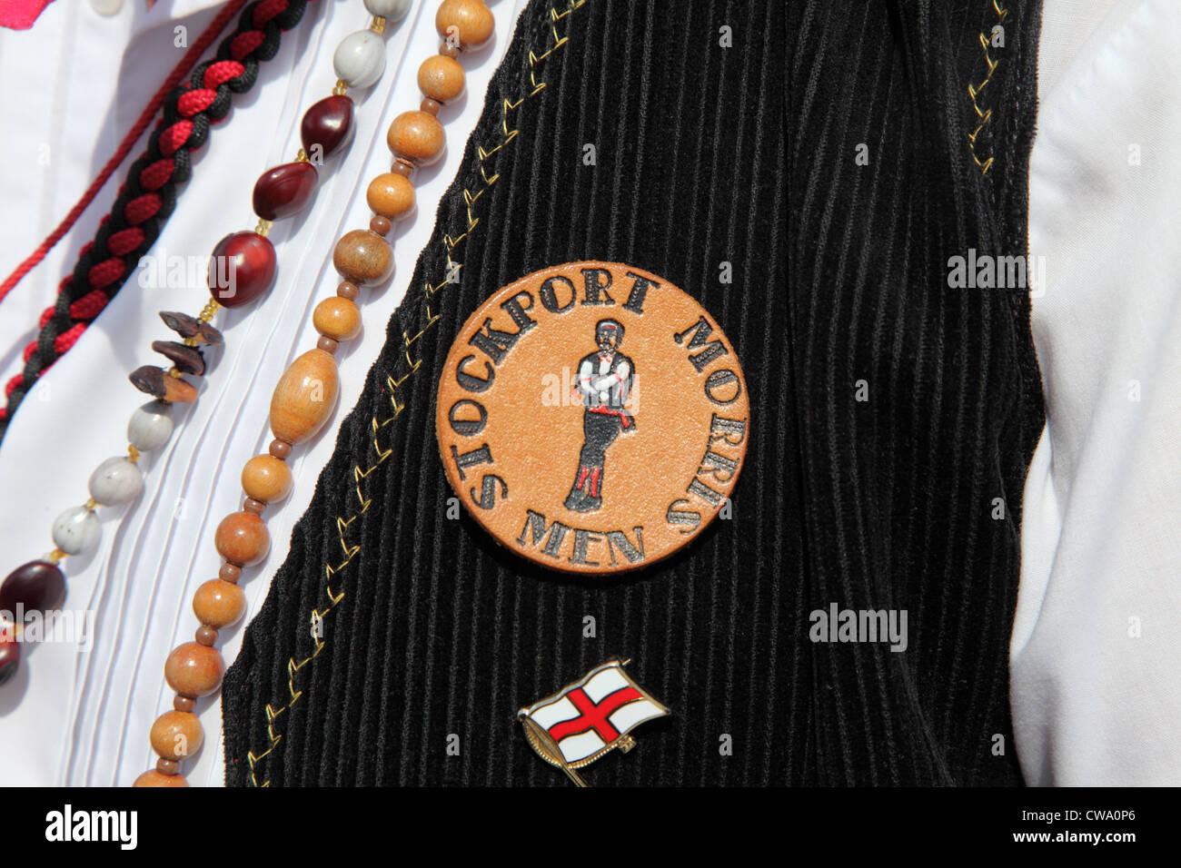 Stockport Morris Men badge or emblem worn at Durham Folk Party 2012, north east England UK - Stock Image