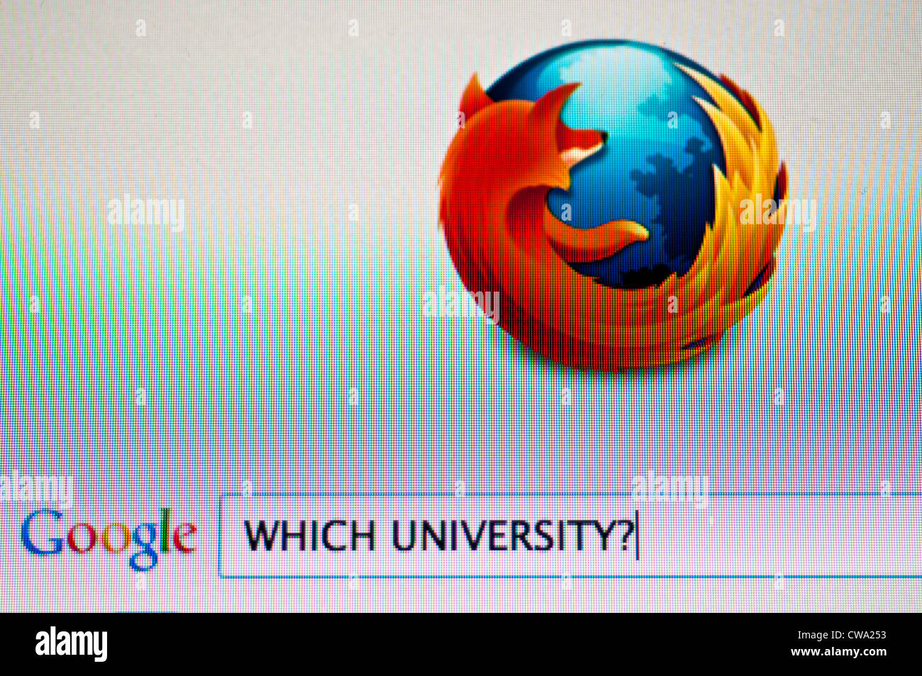 Computer screen with Google search for university - Stock Image
