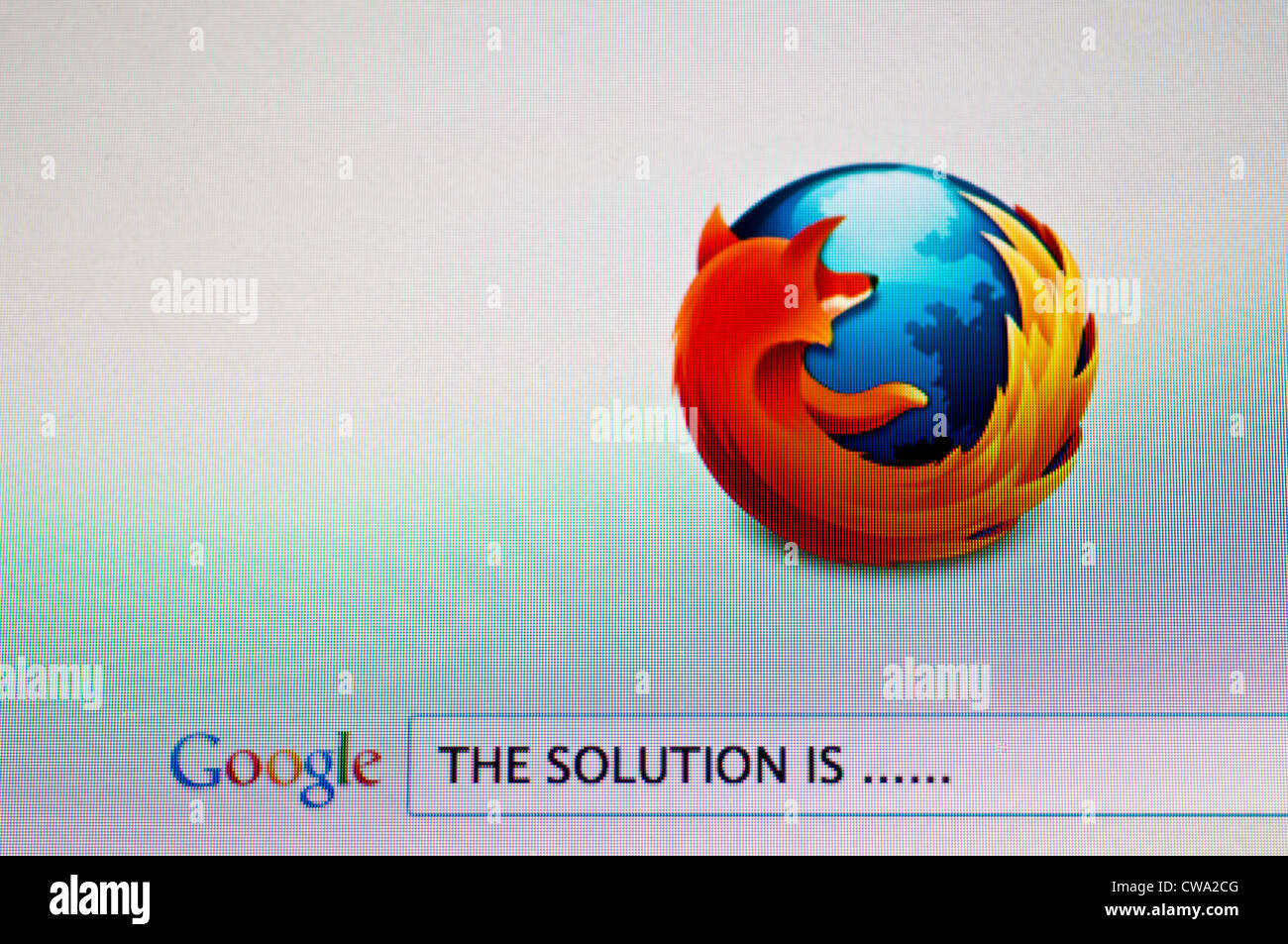 Computer screen with Google search for a solution - Stock Image