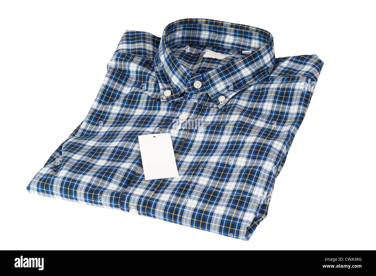 Blue color shirt for men in checked pattern isolate background - Stock Image
