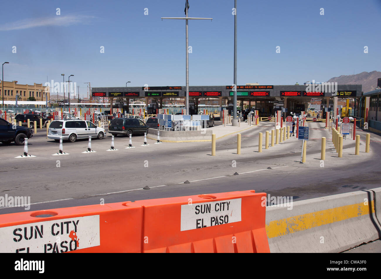 paso del norte ins inspection station immigration naturalization border control crossing international - Stock Image