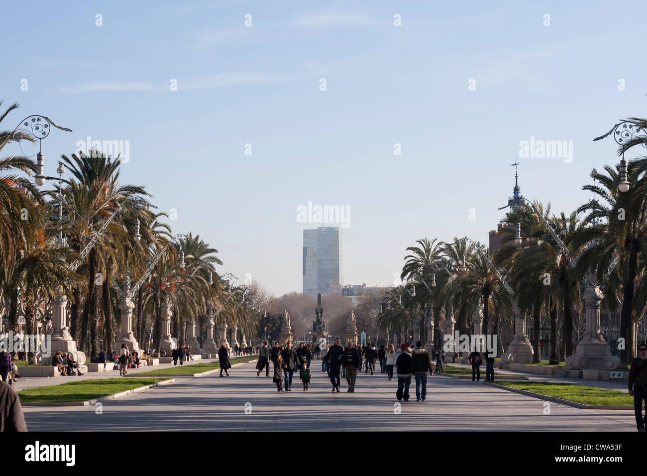 View along the Passieg de Luis Companys in Barcelona, Catalonia. - Stock Image