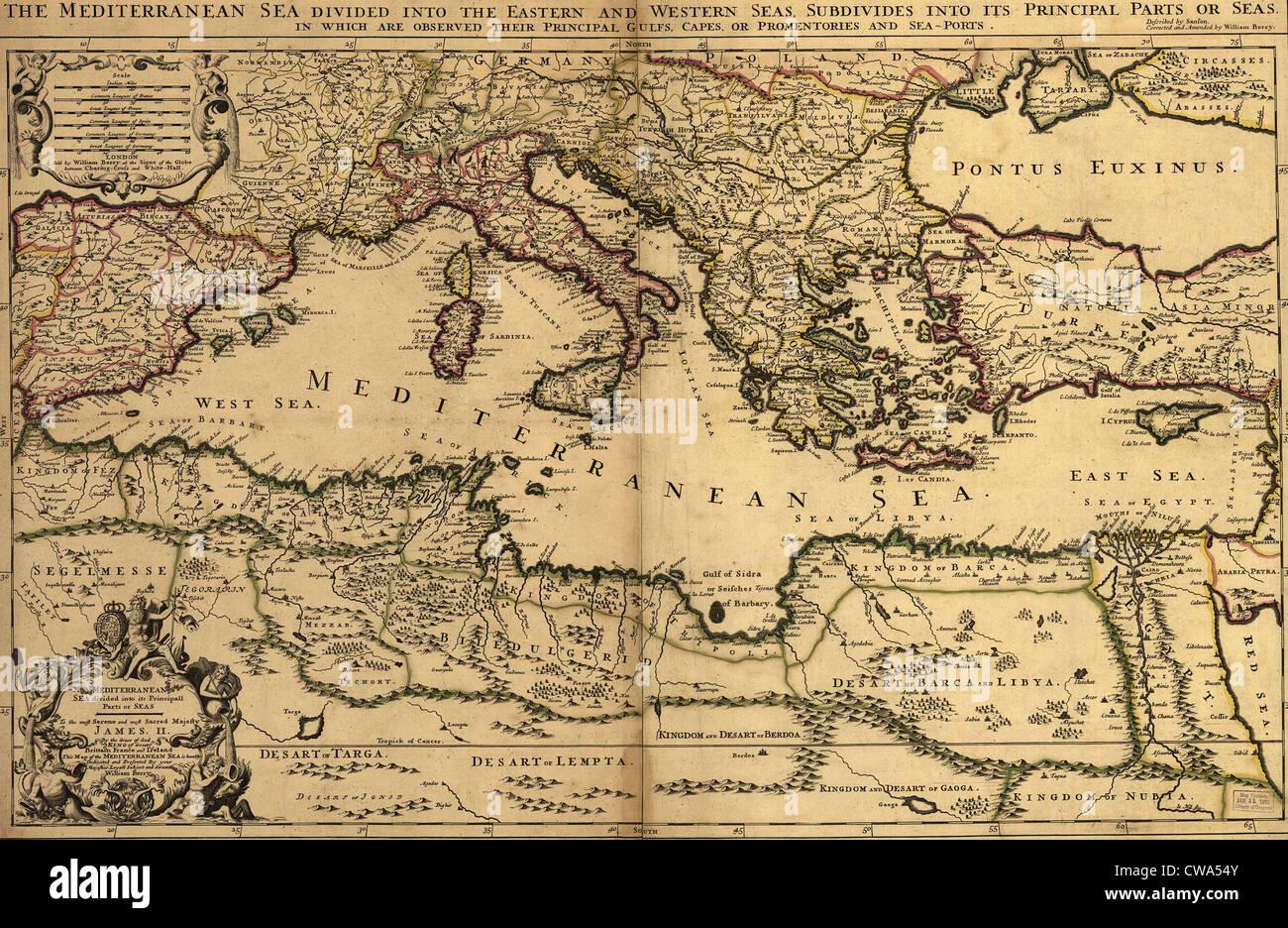 Map Of Coastal Spain.Spain Map 17th Century Stock Photos Spain Map 17th Century Stock