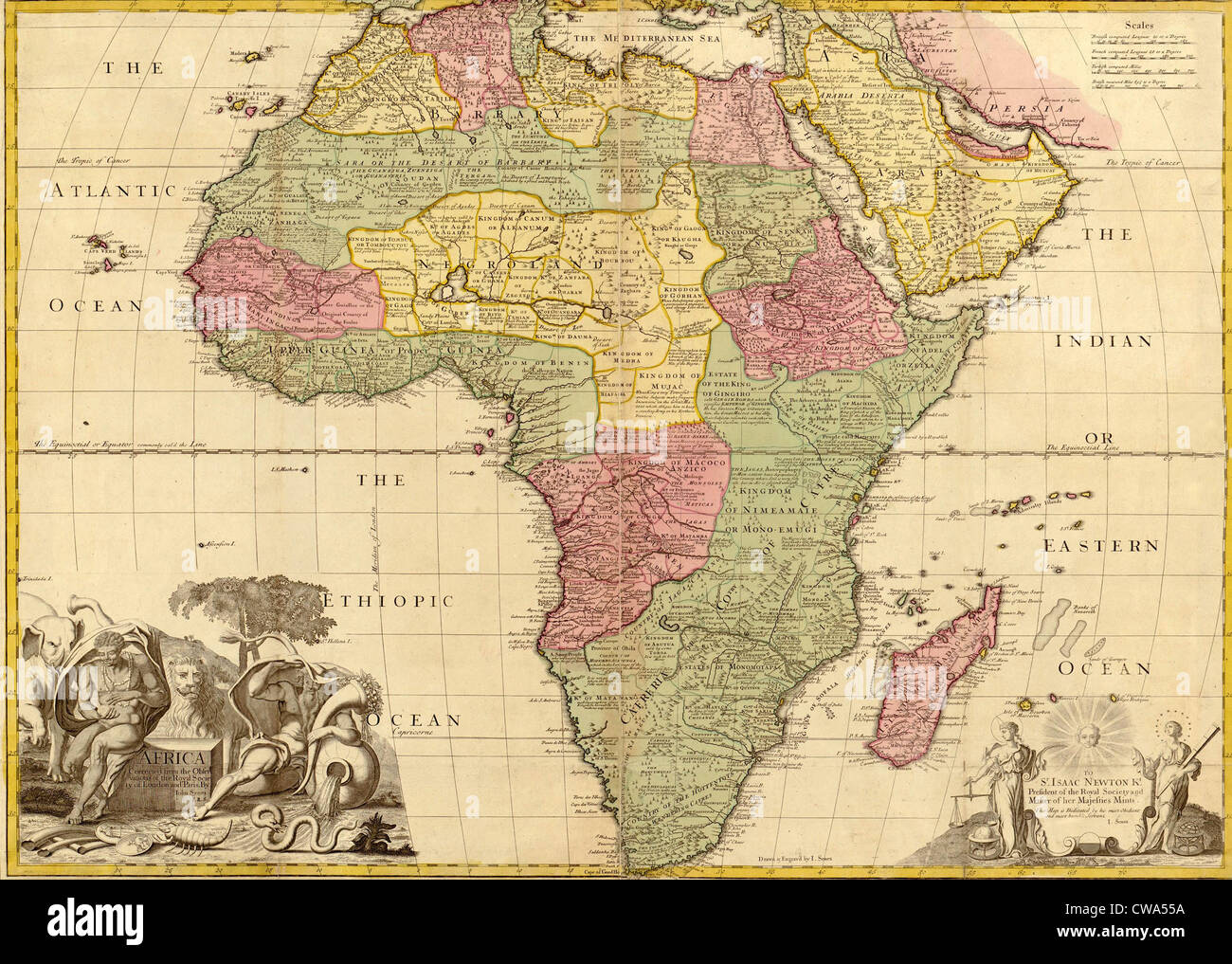 Map Of Africa Sahara.1725 English Map Of Africa Identifying Kingdoms And Within The Large