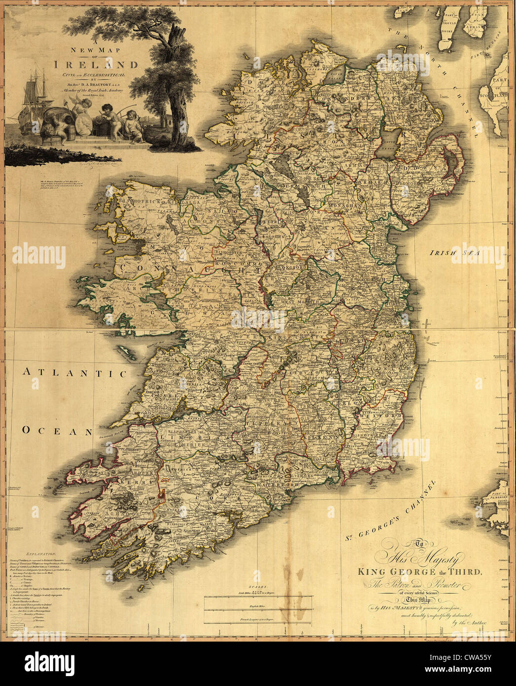 Map of Ireland from 18th century, showing counties, when all of Ireland was under British rule. 1797 - Stock Image