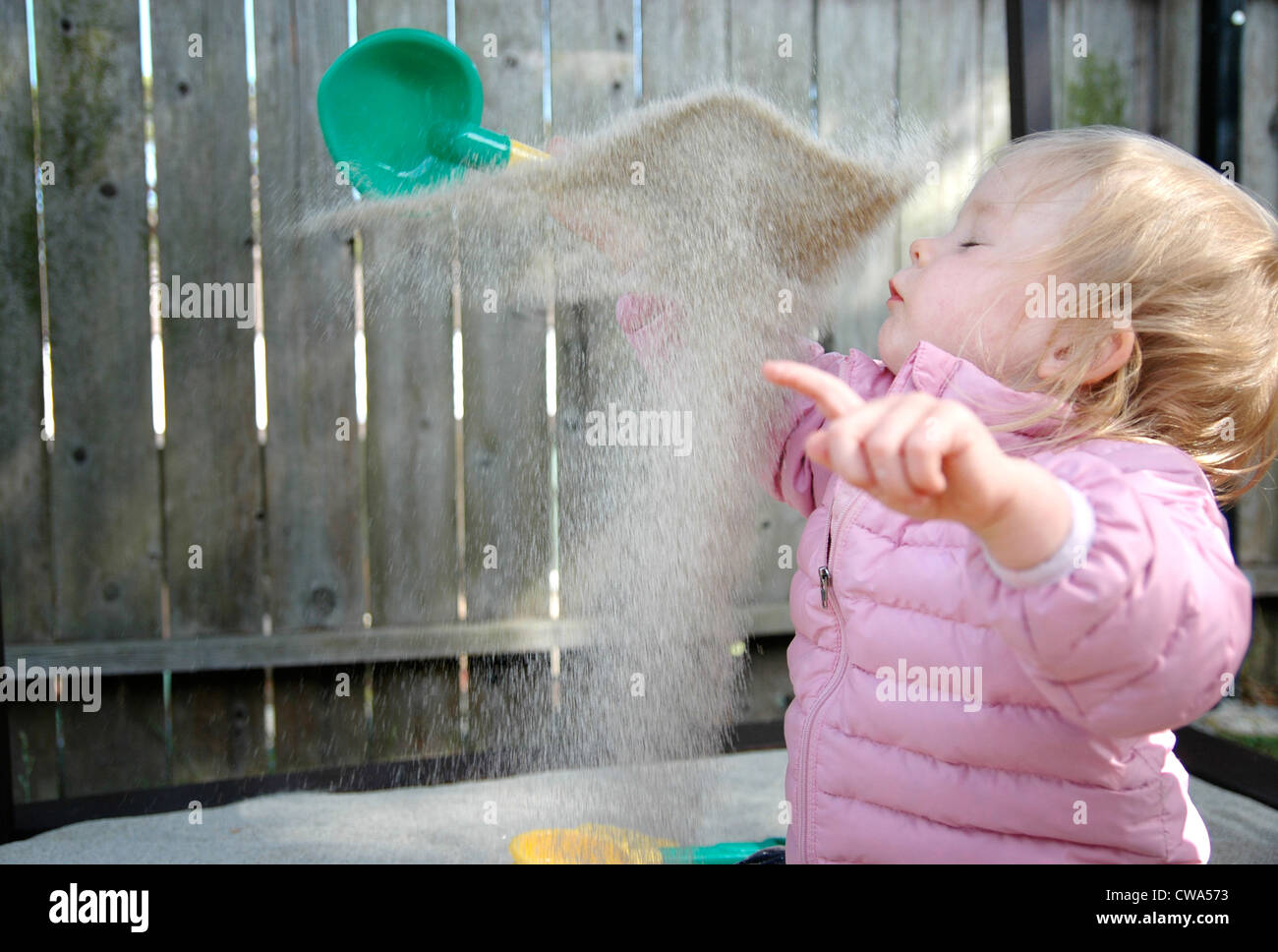 Sand Flies in Toddler Face Stock Photo