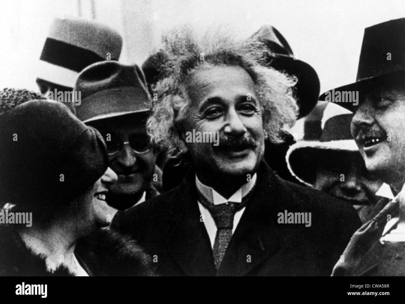 Albert Einstein & wife Elsa during a visit to America in the 1920's. Courtesy: CSU Archives / Everett Collection - Stock Image