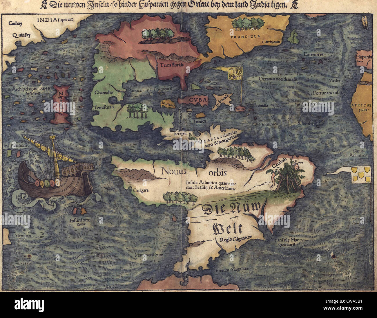 1550 Swiss map of newly discovered Western Hemisphere. The Caribbean Sea is disproportionately large, most of North - Stock Image