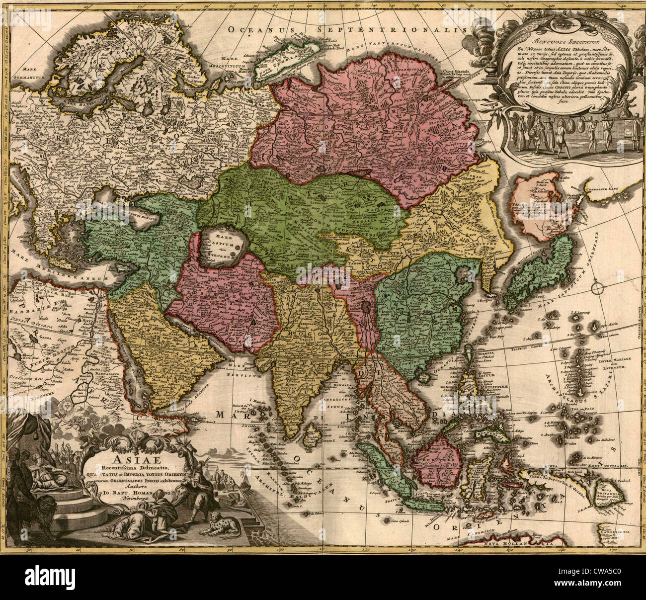 1724 map of Asia and islands of the East Indies. Central and Western Asia are occupied by Tatars. - Stock Image