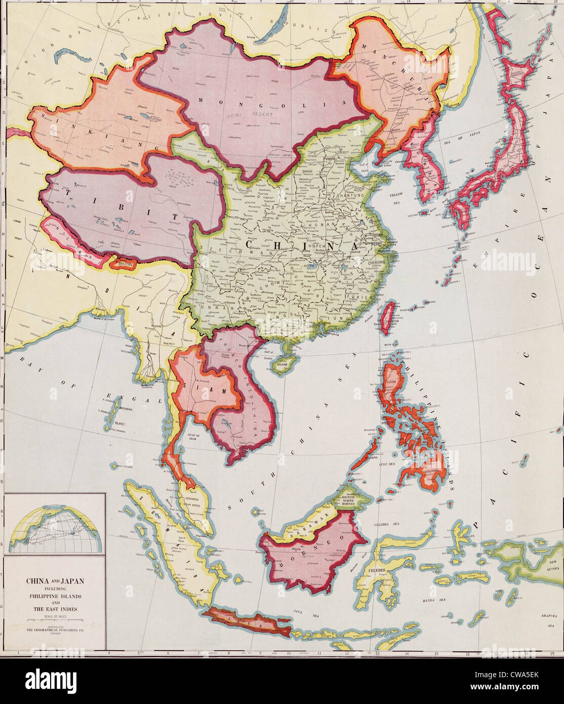 1932 map of east Asia, showing nations that would become targets of Japanese expansion and invasion in the Sino - Stock Image