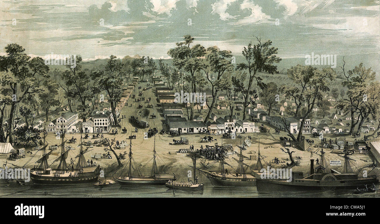 Sacramento city, California in 1849.  The discovery of gold in 1848 made Sacramento a boom town with stores, transport, - Stock Image