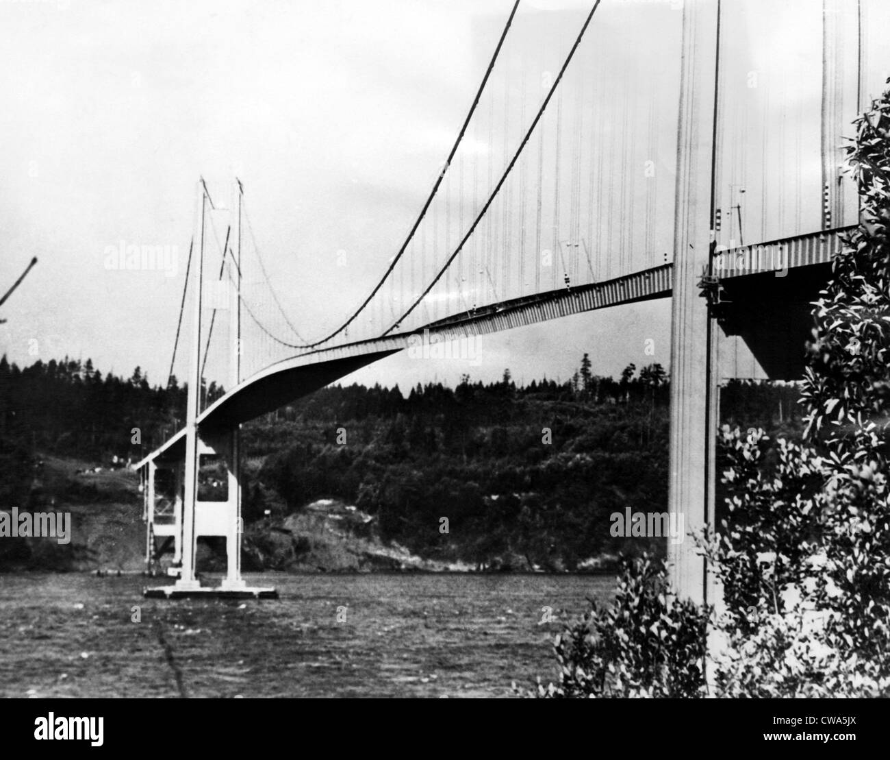 The narrows bridge across Puget Sound in Tacoma, Washington is twisted by a high wind. The bridge collapsed minutes - Stock Image