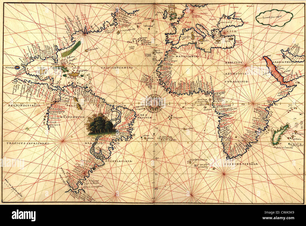 1544 nautical map of the Atlantic Ocean, showing eastern North