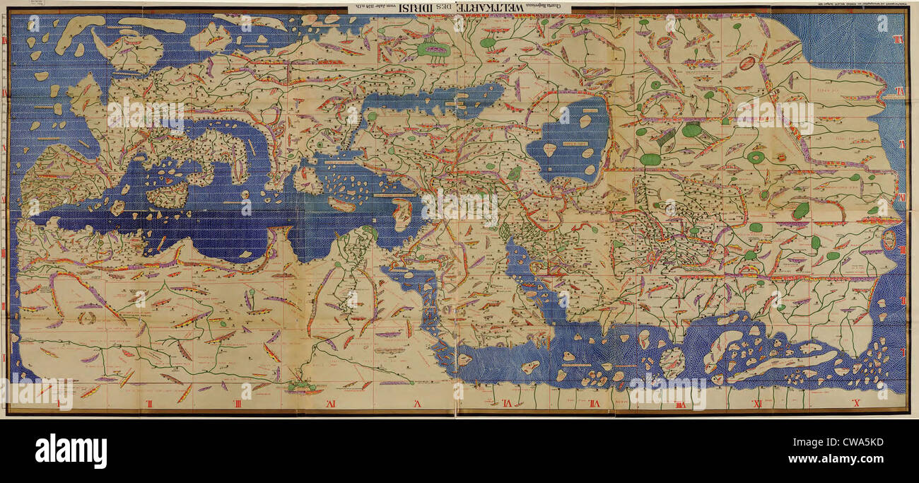 1154, Charta Rogeriana, an Arabian medieval world map by geographer  al–Idrisi (1099-1166), integrates contemporary geographic