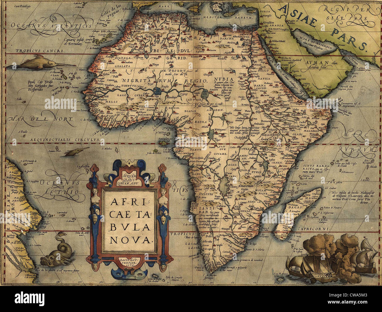 Africa map equator stock photos africa map equator stock images 1570 map of africa by abraham ortelius map shows place namessettlementsrivers gumiabroncs Images