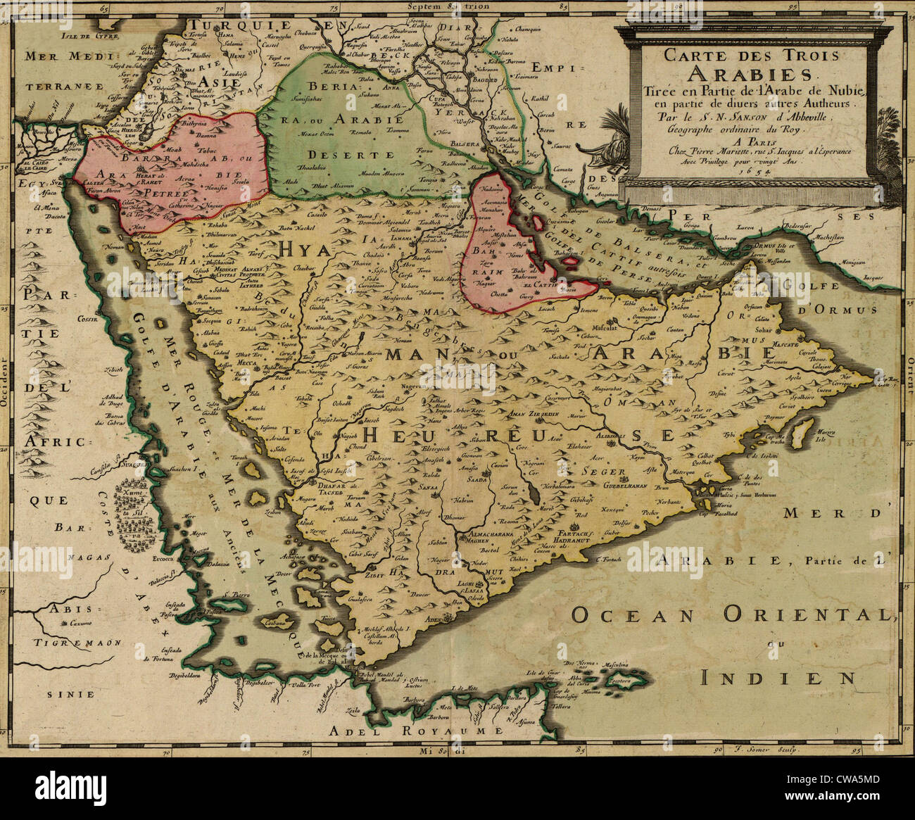 Clear Map Of France.1654 French Map Of Arabian Peninsula By Nicolas Sanson At Center