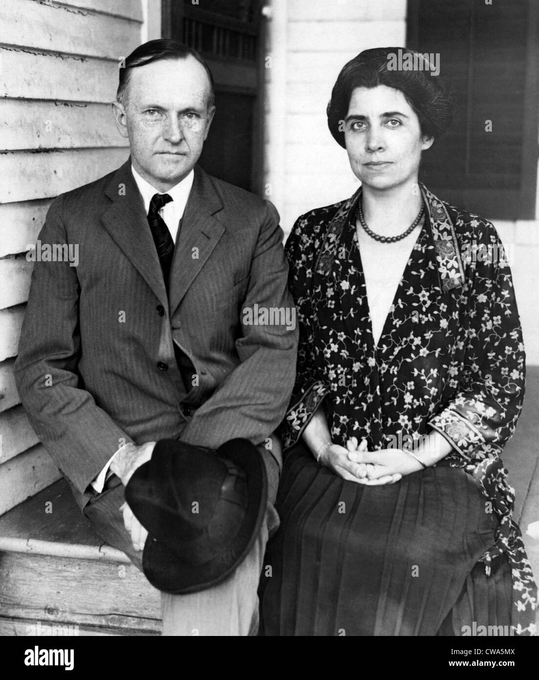 President Calvin Coolidge and First Lady Grace Coolidge at his father's farm house in Plymouth, Vermont, 1923. Courtesy: Stock Photo