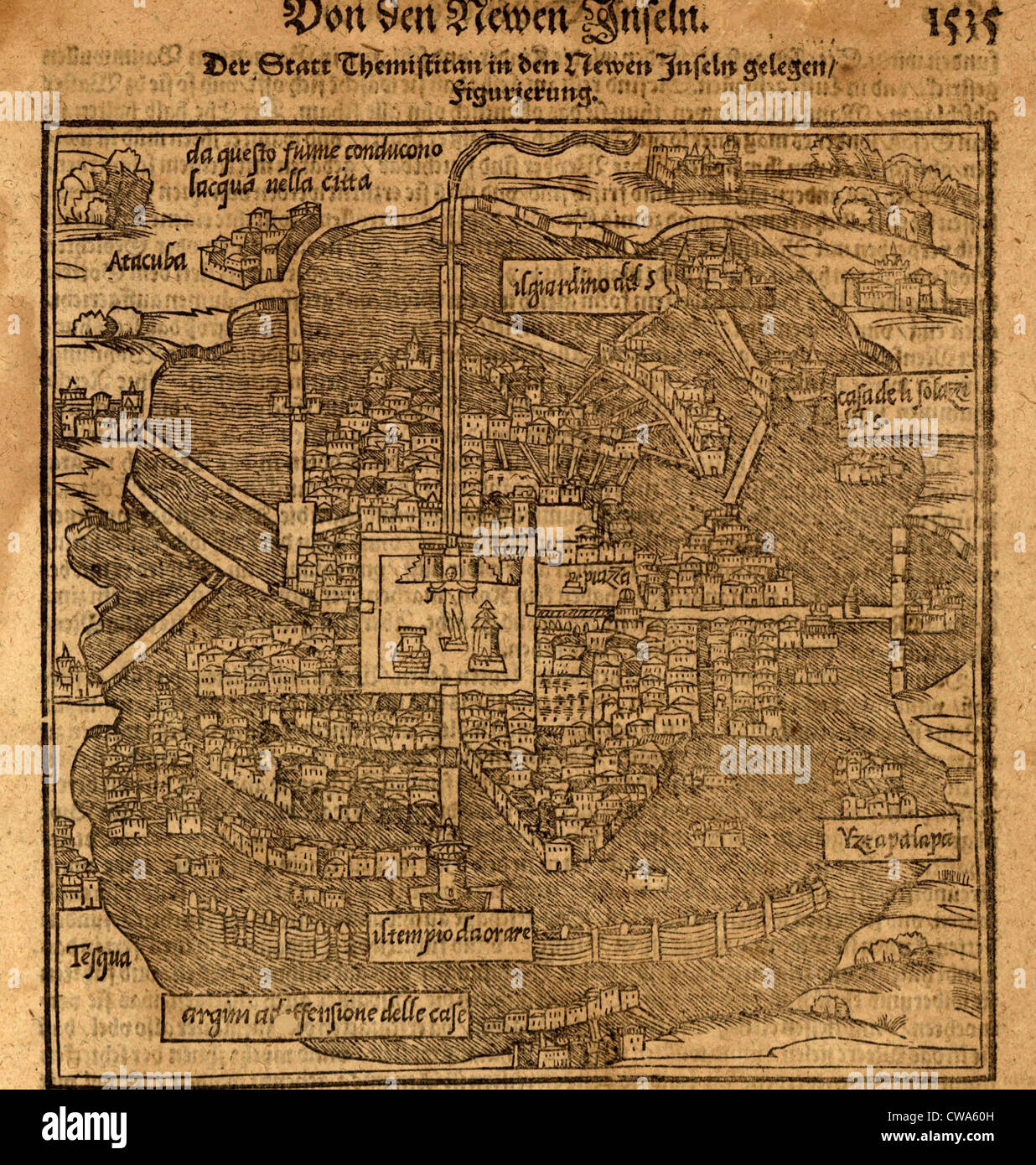 Aztec capital, Tenochtitlan, now Mexico City, from a 1597 map by Sebastian  Munster. Map shows the island where the original