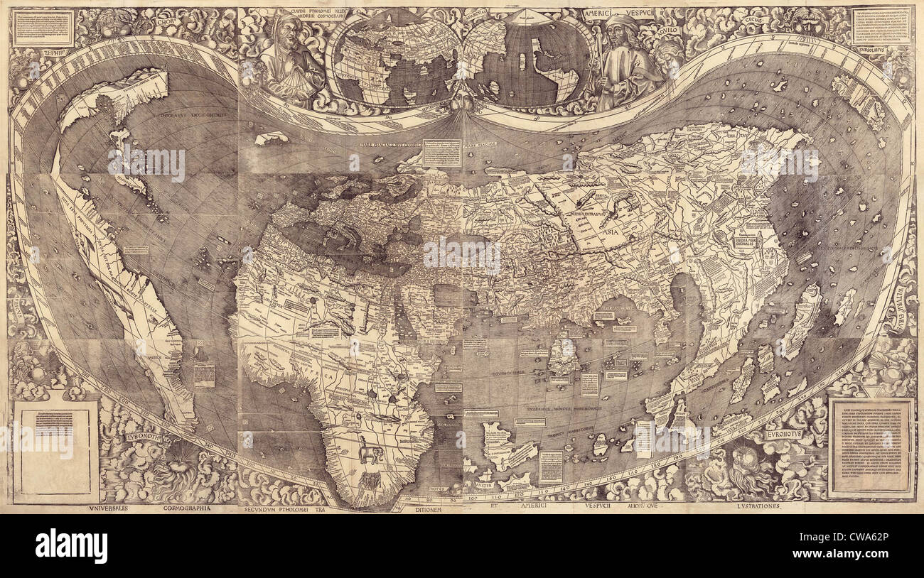 1507 world map by waldseemuller incorporating columbus discovery 1507 world map by waldseemuller incorporating columbus discovery of new lands and using the name america for the first gumiabroncs Image collections