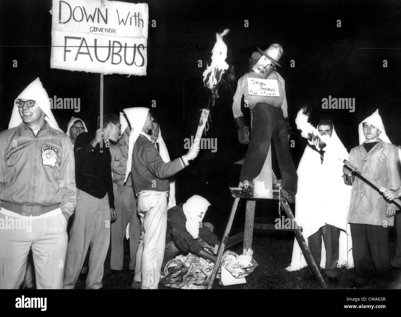 University of Toronto  students burning an effigy of Arkansas Governor Orval Faubus (D). Toronto, Ontario, Canada. - Stock Image