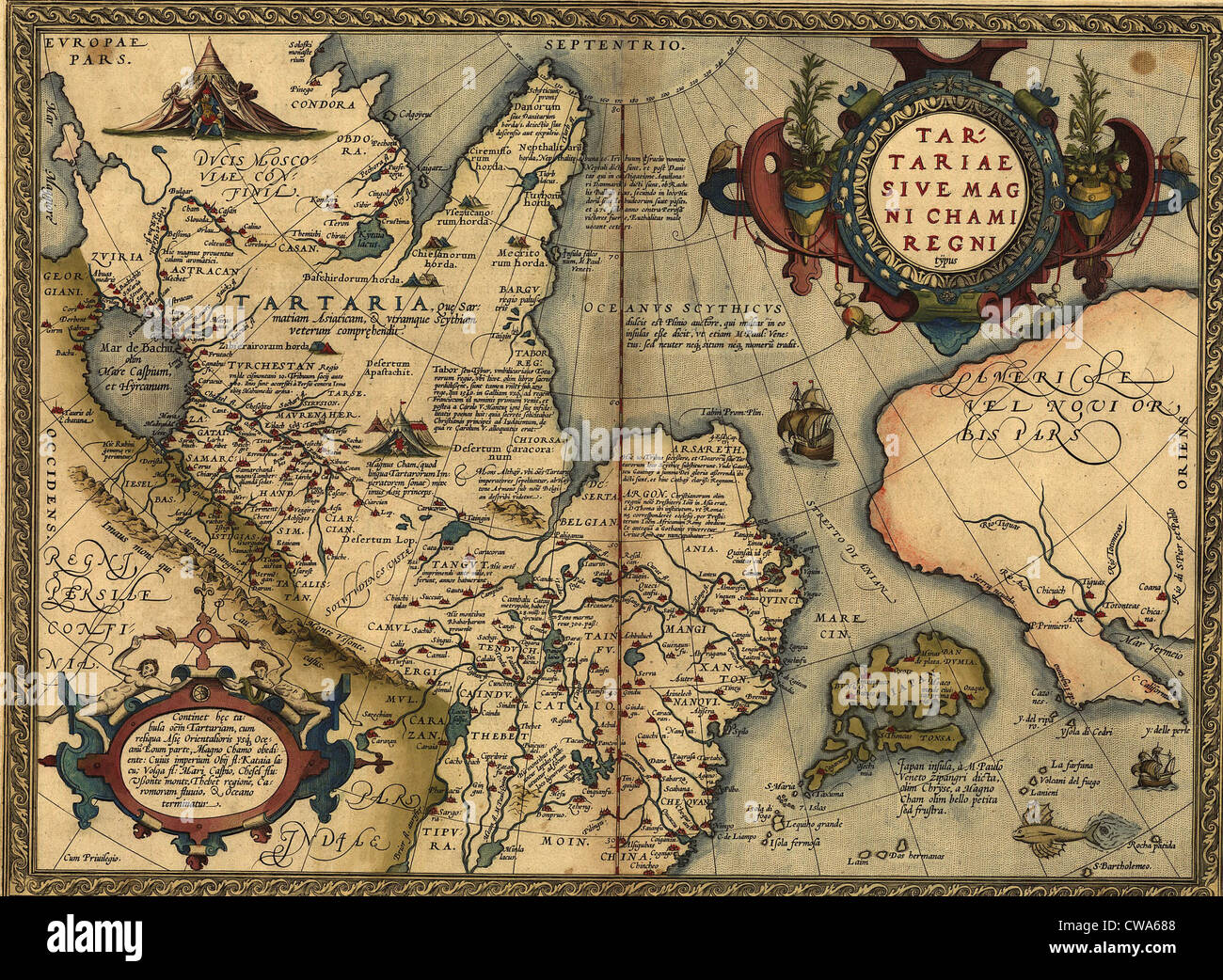 1570 map of tartaria spanning all of northern asia from the ural mountains to the pacific ocean from abraham ortelius