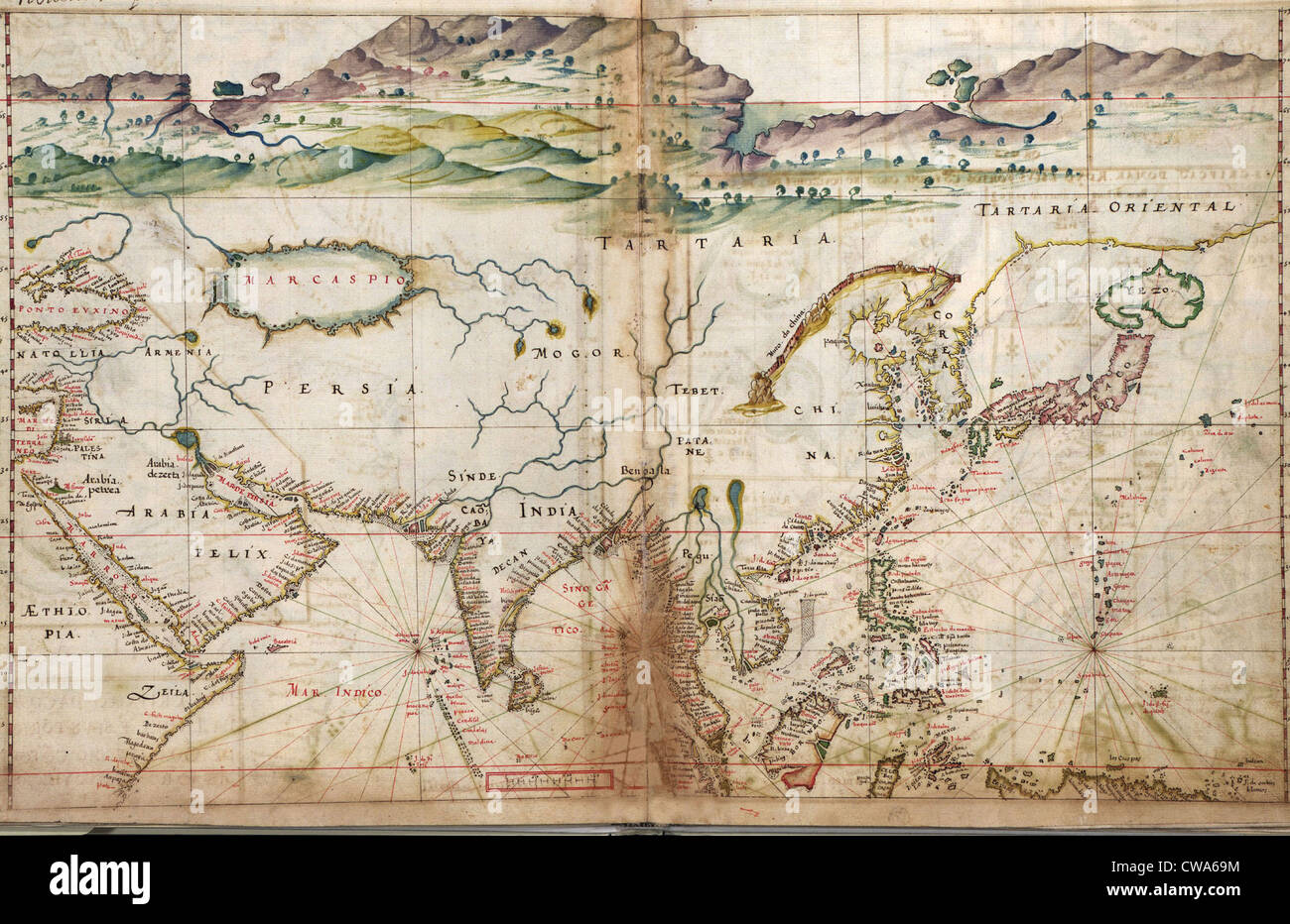 1630 Portuguese maps, showing details of Asian coastal forts and cities, gathered by a century of the Portuguese - Stock Image