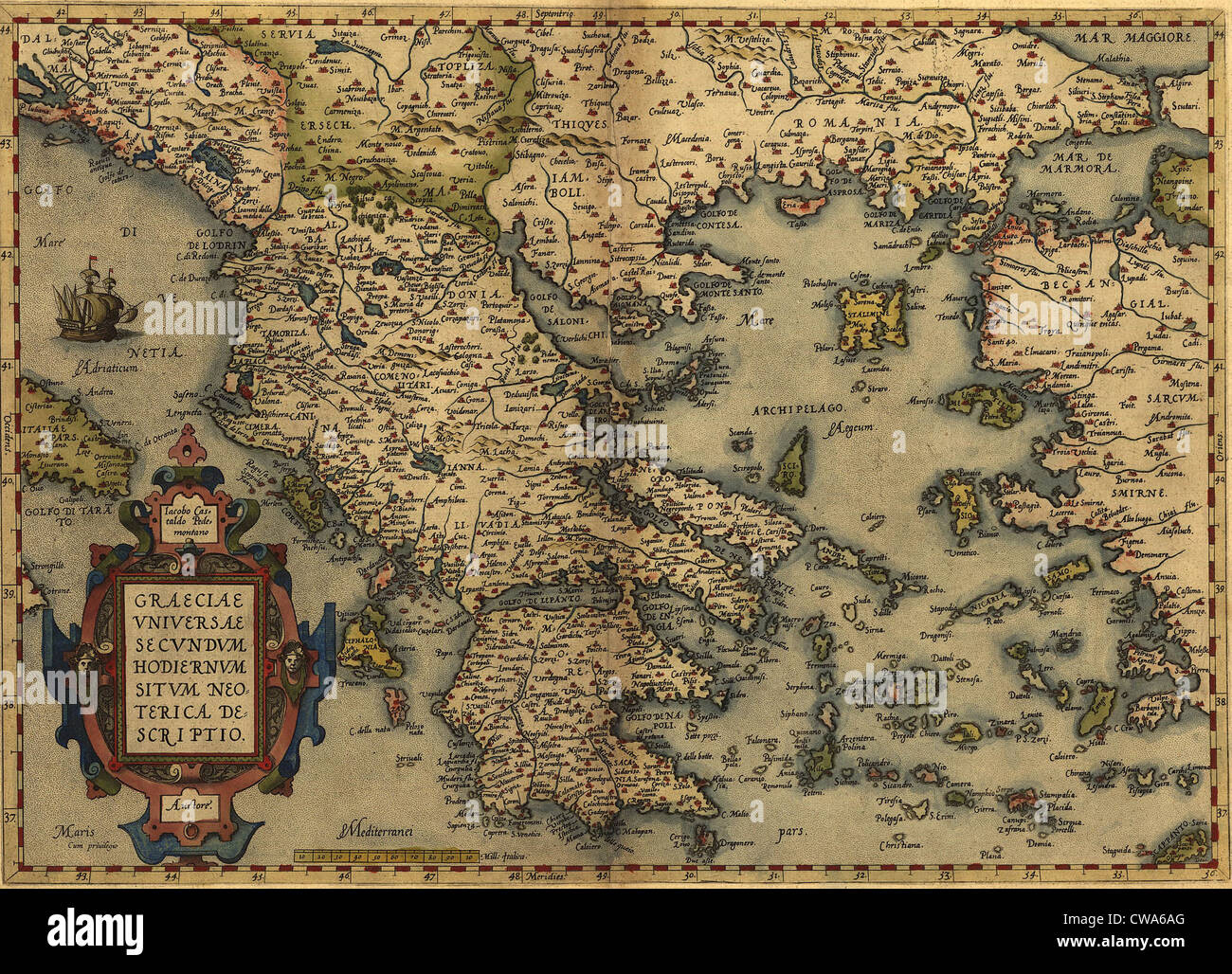 1570 map of Greece, then under the rule of the Ottoman Empire. From Abraham  Ortelius, Theatrvm orbis terrarvm.