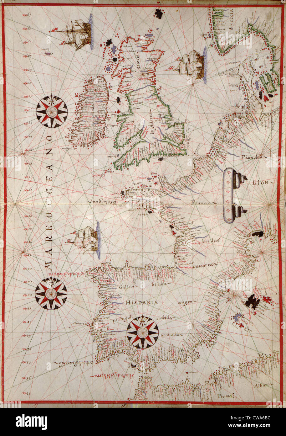 Map Of Spain Coast.1590 Nautical Map Of Wesern Europe Detailing Coast Of Spain Stock