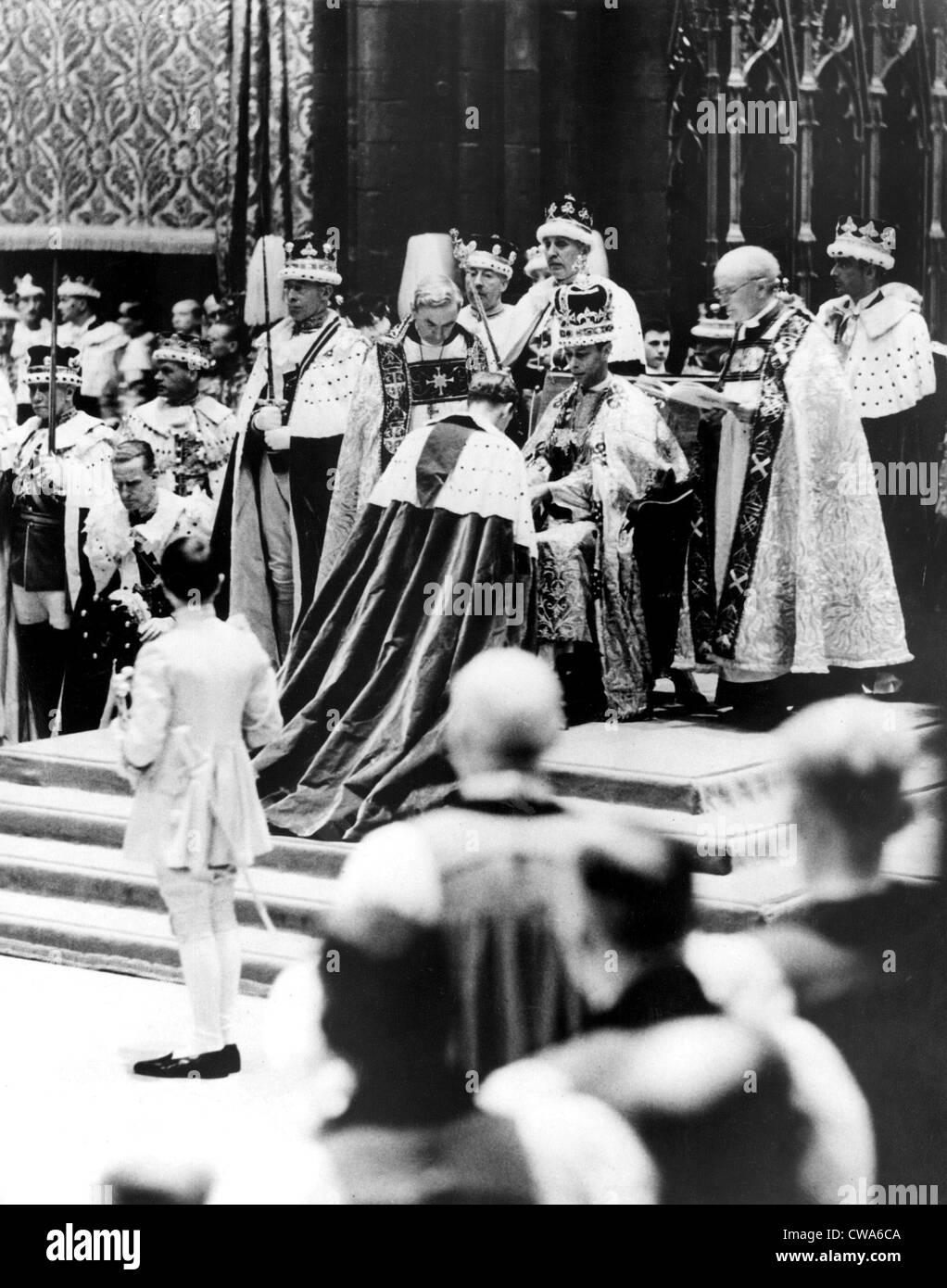 Peers, present in Westminster Abbey, London, May 12, on the occasion of the coronation of Queen Elizabeth I, who - Stock Image