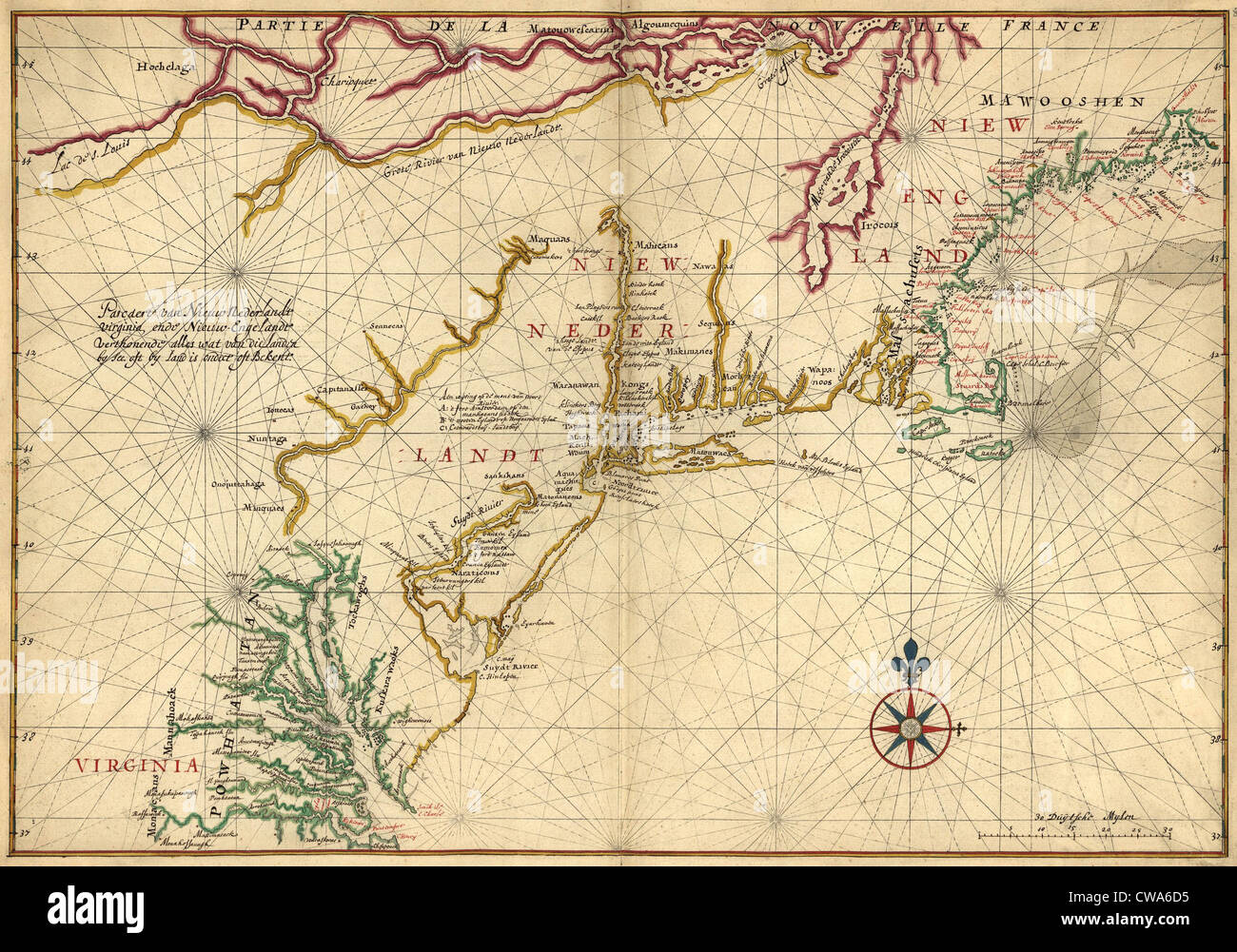 1639 Maps of British Colonies in North America, with locations of Plymouth and Jamestown. - Stock Image